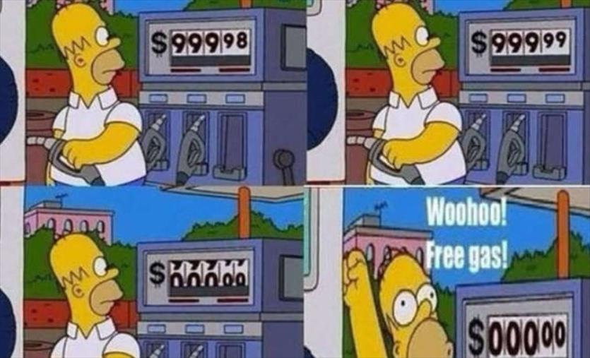 Слика од И цената на нафтата ја предвидоа Симпсонови: Хомер полнеше резервоар за 0 долари