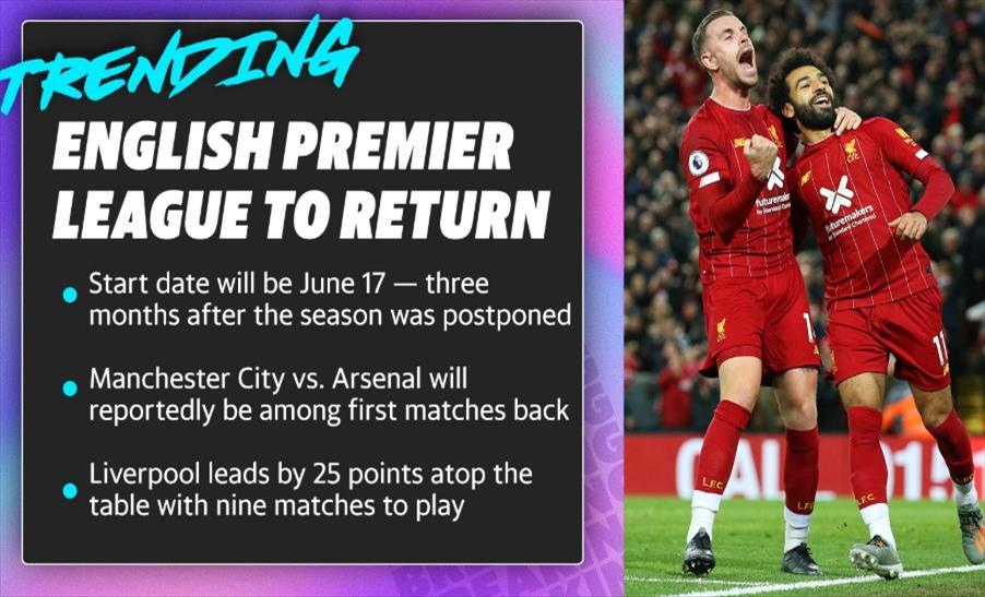 Слика од Конечно добра вест: Премиер лигата се враќа на 17-ти јуни, ќе се игра фудбал до 1-во август