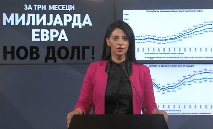 Слика од Илиевска: Во рок од три месеци, власта успеа да го зголеми јавниот долг за една милијарда евра