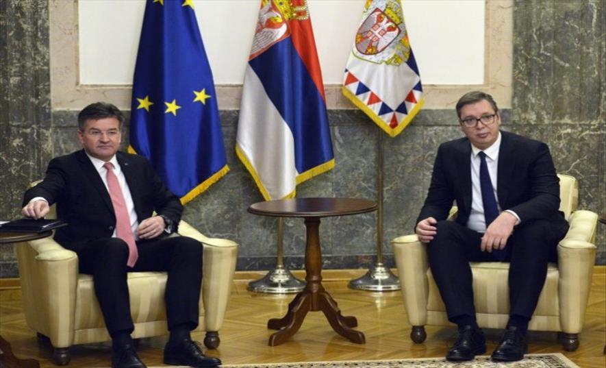 Слика од Средба меѓу Вучиќ и Лајчак во Белград: ЕУ очекува продолжување на дијалогот за сеопфатно нормилизирање на односите