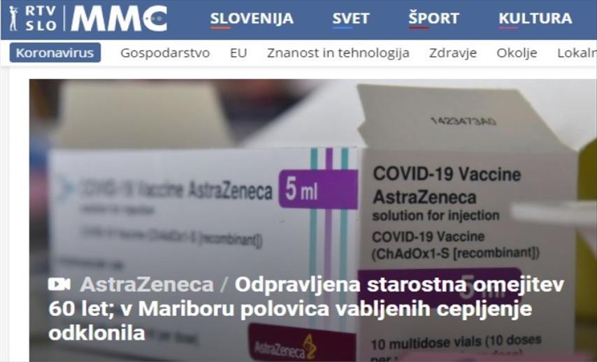 Слика од Словенија ќе го укине ограничувањето за вакцинирање со Астра Зенека