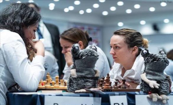 """Слика од Шахистките на """"Алкалоид"""" поразени на стартот на Европскиот куп"""