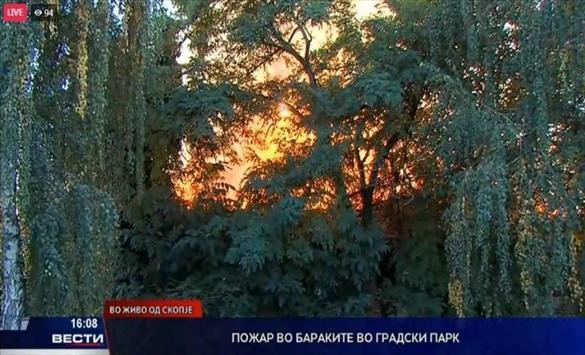 Слика од Голем пожар во Градскиот парк, се запалија бараките на поранешниот Суд за прекршоци