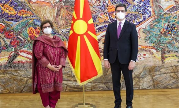 Слика од Пендаровски ги прими акредитивните писма на новоименуваната амбасадорка на Пакистан